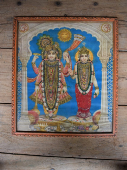 Embellished Vintage Print of Laxshmi and Vishnu